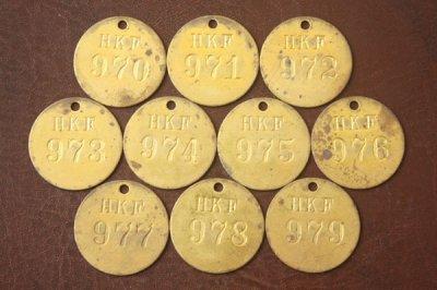 アメリカ オールド真鍮タグ HKF 970-979
