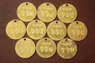アメリカ オールド真鍮タグ HKF 770-779