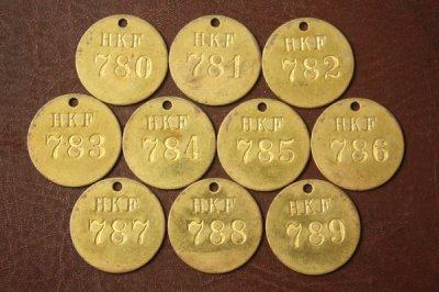 アメリカ オールド真鍮タグ HKF 780-789