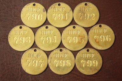 アメリカ オールド真鍮タグ HKF 790-799