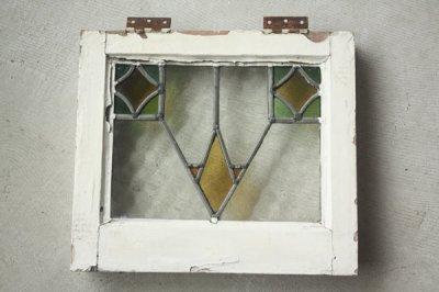 イギリス アンティークステンドグラス 幾何学
