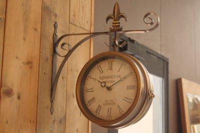 ヨーロッパ風ステーションクロック 壁掛け両面時計