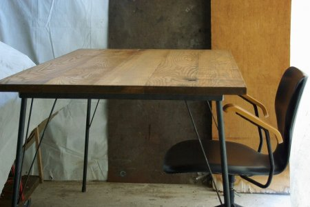 レッドオーク古材鉄脚テーブル002