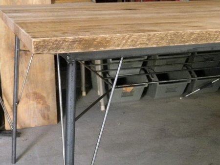 レッドオーク古材鉄脚テーブル004