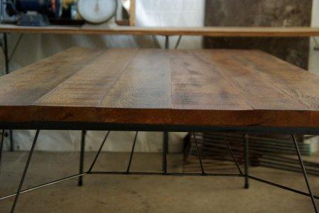 楢古材鉄脚テーブル003