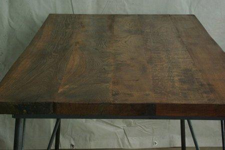 楢古材鉄脚テーブル004