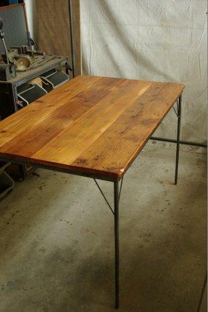 アンティークパイン鉄脚テーブル009