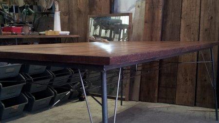 楢古材鉄脚テーブル005