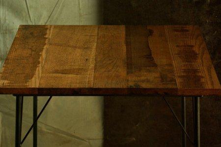 楢古材鉄脚テーブル007