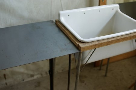 古い味のある鉄の天板