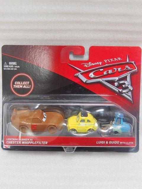 訳有特価】LIGHTNING MCQUEEN AS CHESTER WHIPPLEFILTER AND GUID WITH CLOTH 2pack版 CARS3