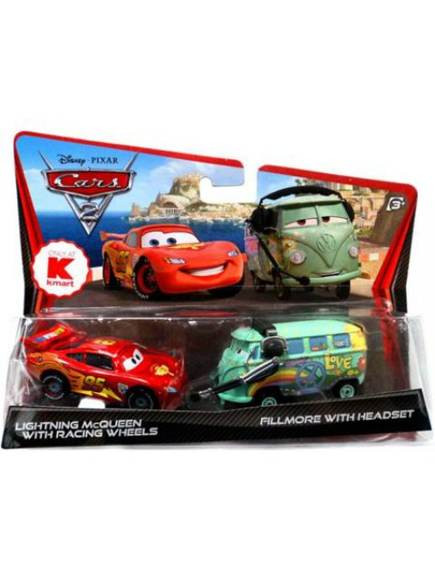訳有特価】LIGHTNING McQUEEN WITH RACHING WHEELS AND FILLMORE WITH HEAD SET K-MART限定