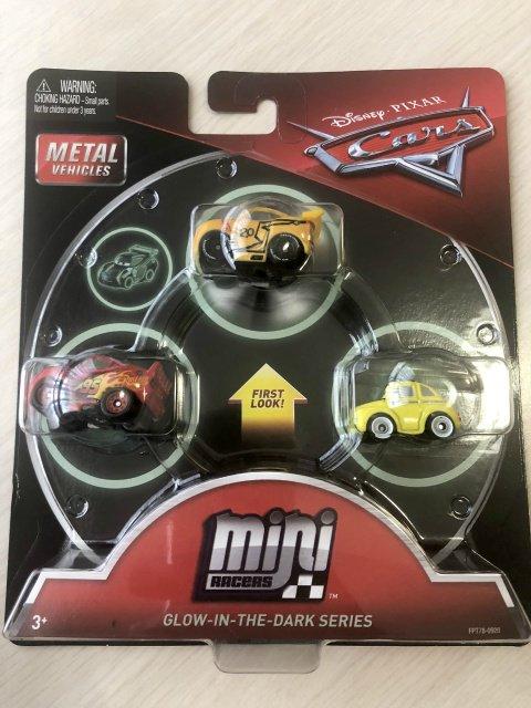 MINI RACERS GLOW IN THE DARK RACERS SERIES 3-PACK トーマスビル クルース/マックイーン/ルイジ 蓄光版