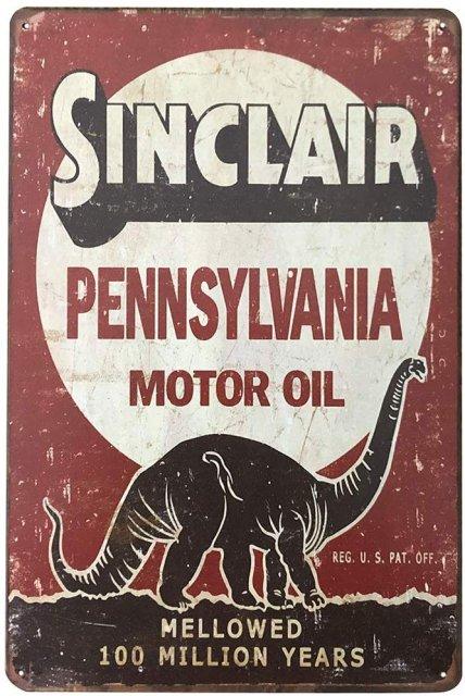 SINCLAIR(DINOCO石油)ビンテージ風ブリキ看板 【クリックポスト対応 送料180円】
