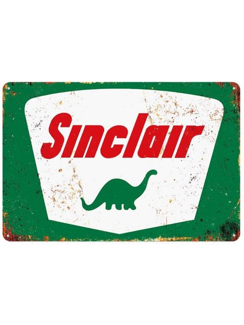 SINCLAIR(DINOCO石油)ビンテージ風ブリキ看板 (2)【クリックポスト対応 送料180円】