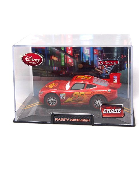 DISNEY STORE 1:48 LIGHTNING McQUEEN with PARTY WHEELS CHASE