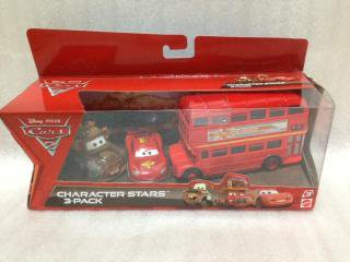 DOUBLE DECKER BUS & MATER & MCQUEEN 3PACK