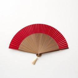 京扇子、袋セット 赤