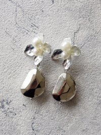 original earring silver pearl flower