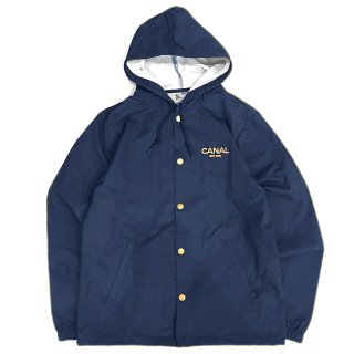 <img class='new_mark_img1' src='//img.shop-pro.jp/img/new/icons58.gif' style='border:none;display:inline;margin:0px;padding:0px;width:auto;' />CANAL Logo Water Proof Hooded Coach Jacket / Creme on Navy (カナル ナイロンフード付きコーチジャケット)