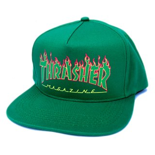 <img class='new_mark_img1' src='https://img.shop-pro.jp/img/new/icons5.gif' style='border:none;display:inline;margin:0px;padding:0px;width:auto;' />THRASHER FLAME LOGO SNAPBACK CAP / GREEN (スラッシャー 5パネルスナップバックキャップ)