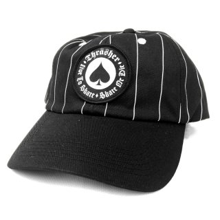 <img class='new_mark_img1' src='//img.shop-pro.jp/img/new/icons5.gif' style='border:none;display:inline;margin:0px;padding:0px;width:auto;' />THRASHER OATH PINSTRIPE SNAPBACK CAP / BLACK (スラッシャー 6パネルスナップバックキャップ/ボールキャップ)