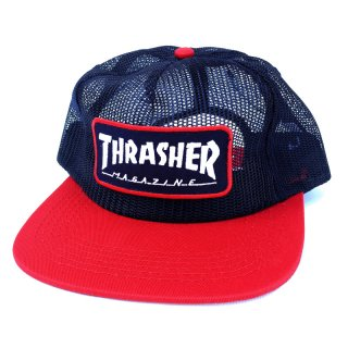 【20%OFF】THRASHER LOGO FULL MESH CAP / NAVY x RED (スラッシャー メッシュキャップ/オールメッシュキャップ) <img class='new_mark_img2' src='//img.shop-pro.jp/img/new/icons41.gif' style='border:none;display:inline;margin:0px;padding:0px;width:auto;' />