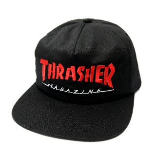 <img class='new_mark_img1' src='//img.shop-pro.jp/img/new/icons5.gif' style='border:none;display:inline;margin:0px;padding:0px;width:auto;' />THRASHER MAGAZINE LOGO SNAPBACK CAP / BLACK (スラッシャー 5パネルスナップバックキャップ)