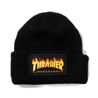 <img class='new_mark_img1' src='//img.shop-pro.jp/img/new/icons5.gif' style='border:none;display:inline;margin:0px;padding:0px;width:auto;' />THRASHER FLAME LOGO PATCH BEANIE / BLACK (スラッシャー ビーニーキャップ/ニットキャップ)
