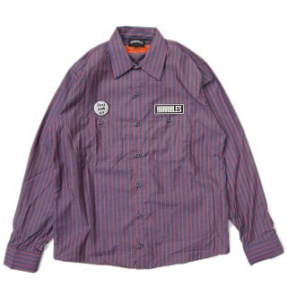 <img class='new_mark_img1' src='//img.shop-pro.jp/img/new/icons5.gif' style='border:none;display:inline;margin:0px;padding:0px;width:auto;' />HORRIBLE'S BITTER LOGO STRIPE WORK SHIRT / NAVY×RED (ホリブルズ 長袖ワークシャツ)