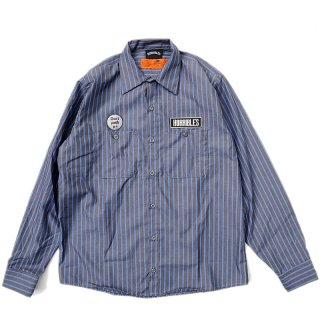 <img class='new_mark_img1' src='//img.shop-pro.jp/img/new/icons5.gif' style='border:none;display:inline;margin:0px;padding:0px;width:auto;' />HORRIBLE'S BITTER LOGO STRIPE WORK SHIRT / GREY×BLUE (ホリブルズ 長袖ワークシャツ)
