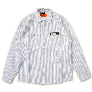 <img class='new_mark_img1' src='//img.shop-pro.jp/img/new/icons5.gif' style='border:none;display:inline;margin:0px;padding:0px;width:auto;' />HORRIBLE'S BITTER LOGO STRIPE WORK SHIRT / WHITE×CHARCOAL (ホリブルズ 長袖ワークシャツ)