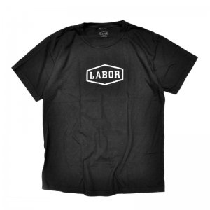<img class='new_mark_img1' src='//img.shop-pro.jp/img/new/icons5.gif' style='border:none;display:inline;margin:0px;padding:0px;width:auto;' />LABOR CREST LOGO TEE / OVERDYED BLACK (レイバー Tシャツ/半袖Tシャツ)