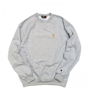 <img class='new_mark_img1' src='//img.shop-pro.jp/img/new/icons5.gif' style='border:none;display:inline;margin:0px;padding:0px;width:auto;' />PIZZA SKATEBOARDS EMOJI LOGO Champion CREWNECK SWEAT / HEATHER GREY (ピザスケートボード /クルーネック スウェット)