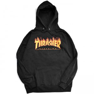 <img class='new_mark_img1' src='https://img.shop-pro.jp/img/new/icons5.gif' style='border:none;display:inline;margin:0px;padding:0px;width:auto;' />THRASHER FLAME LOGO PULLOVER HOODIE / BLACK (スラッシャー パーカー/スウェット)