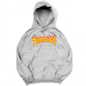 <img class='new_mark_img1' src='//img.shop-pro.jp/img/new/icons5.gif' style='border:none;display:inline;margin:0px;padding:0px;width:auto;' />THRASHER FLAME LOGO PULLOVER HOODIE / HEATHER GREY (スラッシャー パーカー/スウェット)