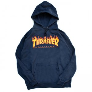 <img class='new_mark_img1' src='https://img.shop-pro.jp/img/new/icons5.gif' style='border:none;display:inline;margin:0px;padding:0px;width:auto;' />THRASHER FLAME LOGO PULLOVER HOODIE / NAVY (スラッシャー パーカー/スウェット)