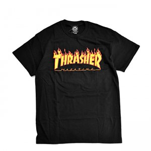 <img class='new_mark_img1' src='https://img.shop-pro.jp/img/new/icons5.gif' style='border:none;display:inline;margin:0px;padding:0px;width:auto;' />THRASHER FLAME LOGO TEE / BLACK (スラッシャー ロゴTシャツ)