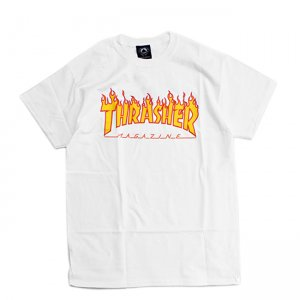 <img class='new_mark_img1' src='https://img.shop-pro.jp/img/new/icons5.gif' style='border:none;display:inline;margin:0px;padding:0px;width:auto;' />THRASHER FLAME LOGO TEE / WHITE (スラッシャー ロゴTシャツ)