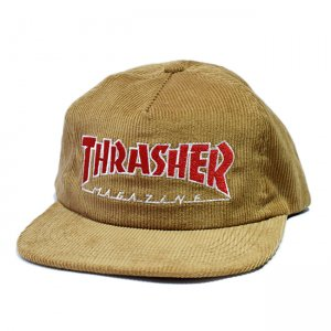 <img class='new_mark_img1' src='//img.shop-pro.jp/img/new/icons5.gif' style='border:none;display:inline;margin:0px;padding:0px;width:auto;' />THRASHER MAGAZINE LOGO CORDUROY SNAPBACK CAP / GOLD (スラッシャー 5パネルスナップバックキャップ)