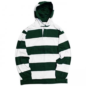 <img class='new_mark_img1' src='https://img.shop-pro.jp/img/new/icons5.gif' style='border:none;display:inline;margin:0px;padding:0px;width:auto;' />HORRIBLE'S HOODED RUGBY SHIRT / FOREST GREEN×WHITE (ホリブルズ ラガーフーディー/シャツ)