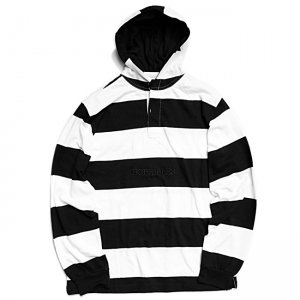 <img class='new_mark_img1' src='//img.shop-pro.jp/img/new/icons5.gif' style='border:none;display:inline;margin:0px;padding:0px;width:auto;' />HORRIBLE'S HOODED RUGBY SHIRT / BLACK×WHITE (ホリブルズ ラガーフーディー/シャツ)
