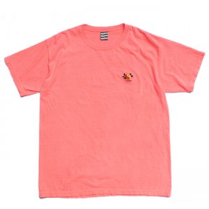 SAYHELLO Yin and Yang Embroided GARMENT DYE TEE / NEON RED (セイハロー Tシャツ)