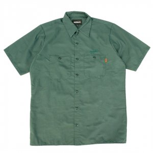 <img class='new_mark_img1' src='https://img.shop-pro.jp/img/new/icons5.gif' style='border:none;display:inline;margin:0px;padding:0px;width:auto;' />HORRIBLE'S SCRIPT WORK SHIRT / GREEN (ホリブルズ 半袖ワークシャツ)