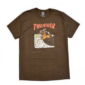 <img class='new_mark_img1' src='https://img.shop-pro.jp/img/new/icons5.gif' style='border:none;display:inline;margin:0px;padding:0px;width:auto;' />THRASHER NECKFACE INVERT TEE / BROWN (スラッシャー ロゴTシャツ)