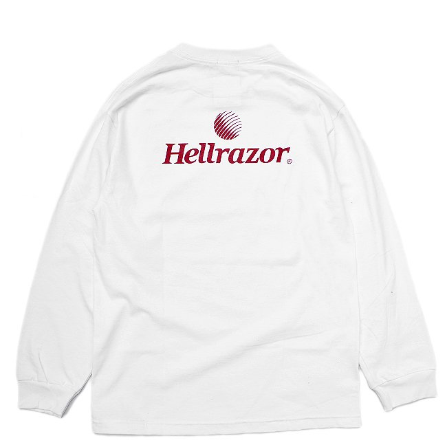 <img class='new_mark_img1' src='//img.shop-pro.jp/img/new/icons5.gif' style='border:none;display:inline;margin:0px;padding:0px;width:auto;' />HELLRAZOR TRADE MARK LOGO L/S Shirts / WHITE (ヘルレイザー ロンT/長袖Tシャツ)