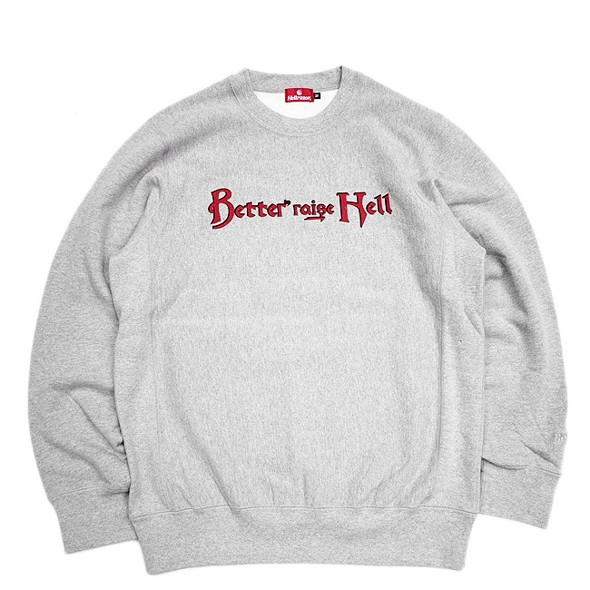<img class='new_mark_img1' src='//img.shop-pro.jp/img/new/icons5.gif' style='border:none;display:inline;margin:0px;padding:0px;width:auto;' />Hellrazor × Better™ Raise Hell Crewneck / Grey (ヘルレイザー ベター クルーネックスウェット)