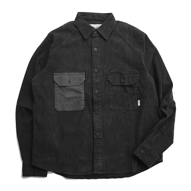 <img class='new_mark_img1' src='//img.shop-pro.jp/img/new/icons5.gif' style='border:none;display:inline;margin:0px;padding:0px;width:auto;' />QUASI CM Long Sleeve Button Up Shirt / BLACK (クアジ 長袖シャツ/ジャケット)