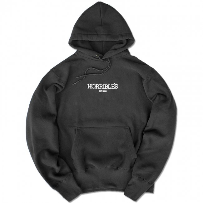 <img class='new_mark_img1' src='//img.shop-pro.jp/img/new/icons5.gif' style='border:none;display:inline;margin:0px;padding:0px;width:auto;' />HORRIBLE'S SO.LOGO CAMBER HEAVYWEIGHT HOODED  / BLACK (ホリブルズ フーディー/スウェット)