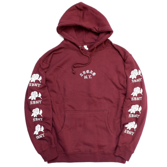 <img class='new_mark_img1' src='//img.shop-pro.jp/img/new/icons5.gif' style='border:none;display:inline;margin:0px;padding:0px;width:auto;' />5BORO ROSE SLEEVE HOODIE / MAROON (ファイブボロ/パーカー)